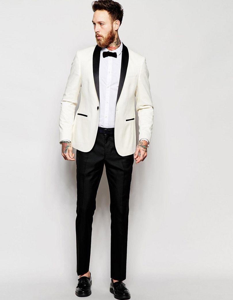 2016 Slim Fit Tuxedo Suit White Jacket Black Trouser Man Suit Custom Made A Button Dinner Suit