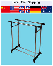 Double Furniture Folding Clothes Rail Hanging Garment Dress On Wheels Mesh Shoe Rack Clothes Rack Stand(China (Mainland))