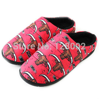 Big Yards Winter Home Bull Print Thermal Thickening Cotton-Padded Warm Slippers For Women Men Indoor\Floor Slippers
