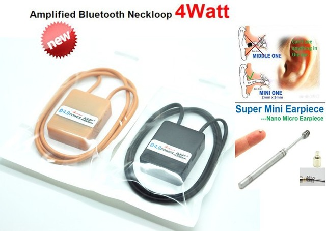 DHL Free Shipping 4 Watt Powerful Top Pro Bluetooth Neckloop with Supr Nano Earpiece