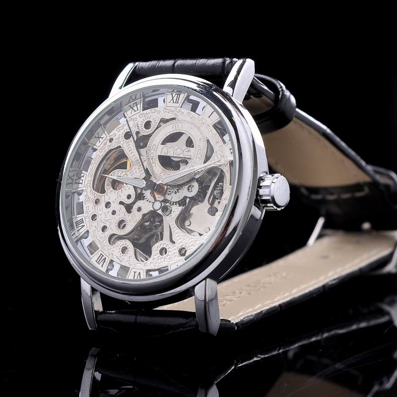 Здесь можно купить  MCE Brand Men Classic Skeleton Mechanical Watches Hand Wind Leather Strap Wristwatch Vintage Roman Number Analog Relojes NW7014  Часы