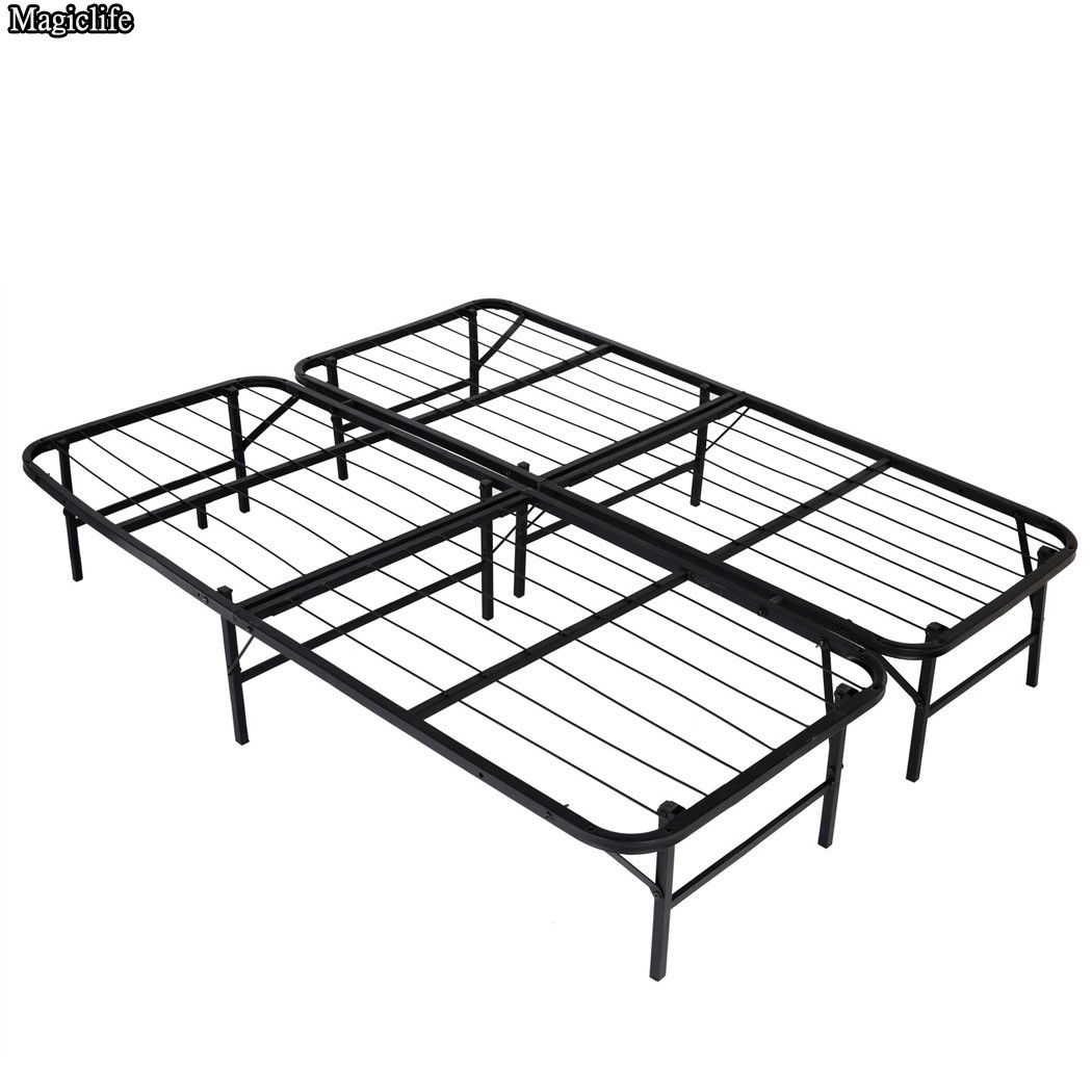 Platform Metal Bed Frame/Mattress Foundation Adjustable Full Queen Cal King Bed Base fast shipping<br>