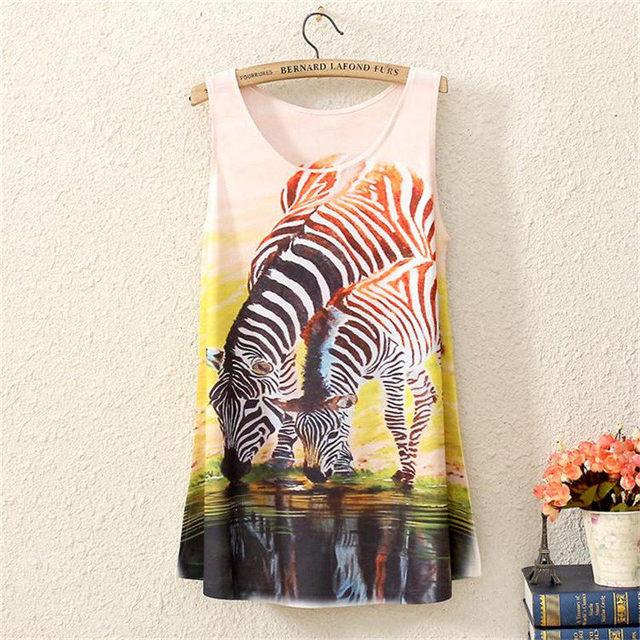 Высокое качество новых мужчин футболки лето мода жилет майка девушки бренд рукавов футболка зебры печать 3d женской одежды женщина
