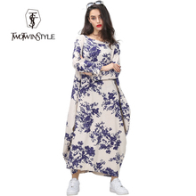 [TWOTWINSTYLE] 2016 spring printing stitching loose dress large size women round neck dresses long sleeves(China (Mainland))