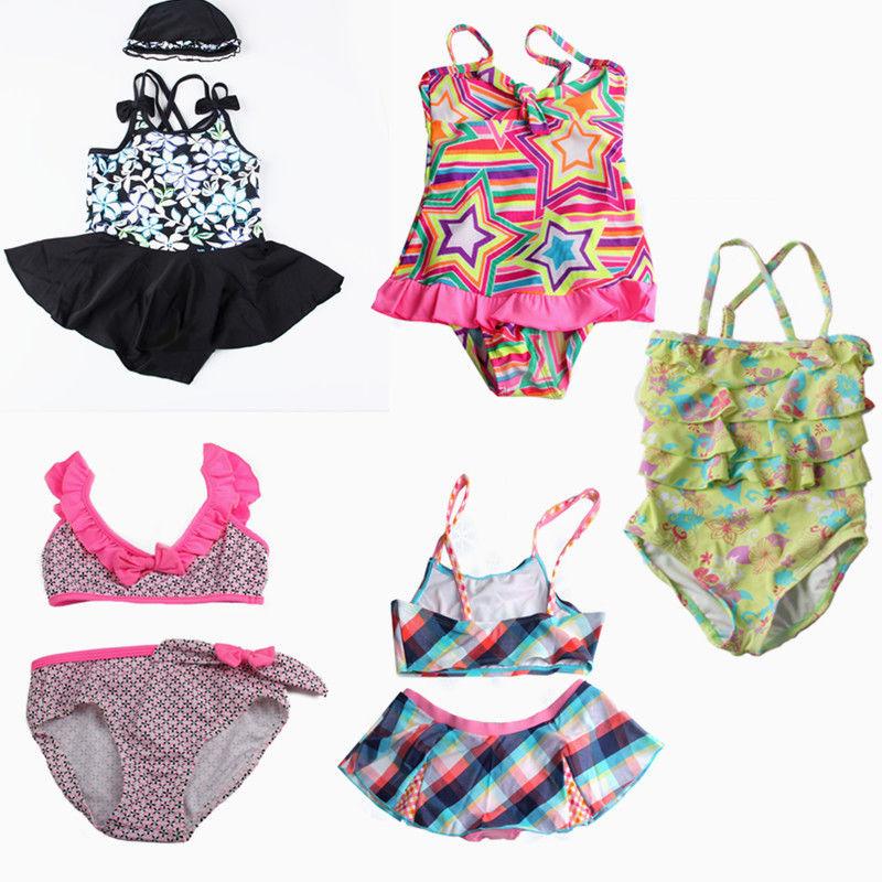 Fashion Cute Girls Kids Swimwear Baby Swimsuit Biquini Infantil Dot Flower Two Pieces Swim Suit Costume Cake Skirt Tankini SET - Super Wall-Mart A+ Co., Ltd store