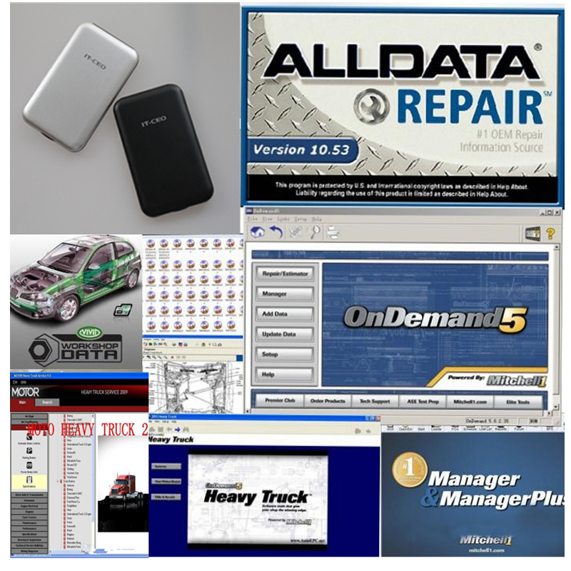 2016 auto diagnostic software alldata 10.53 + 2015 mitchell on demand +mitchell manager plus+medium heavy truck 47in 1TB HDD(China (Mainland))