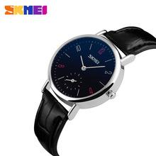 2016 SKMEI Men OR Women Watches SKMEI Quartz Watch Genuine Leather Watch Women Men's watch relogio feminino relogios masculinos