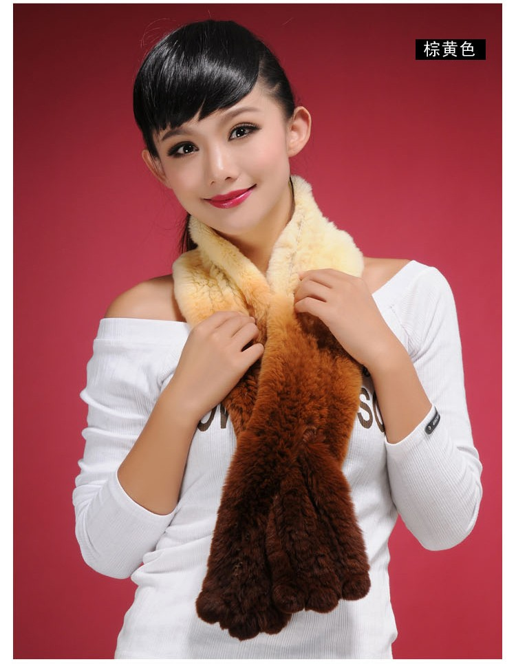 Wholesale 2016 Winter Dip Dyeing Knitted Top Quality Rex Rabbit Hair Fur Scarves Gradient Muffler Scarf For Women free shipping