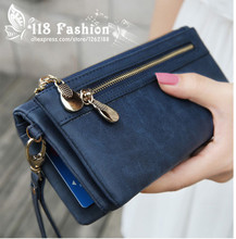 Hot Sale Fashion Women Wallets 9 Colors Matte PU Leather Double Zipper Soft Wallet Ladies Long Day Clutch Coin Purse Card Holder