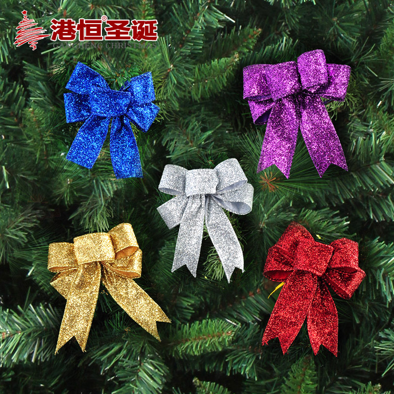 christma ornament crafts Christmas tree decoration 10 x8cm onion powder bow (individual) 5 g (GHBOW001)(China (Mainland))