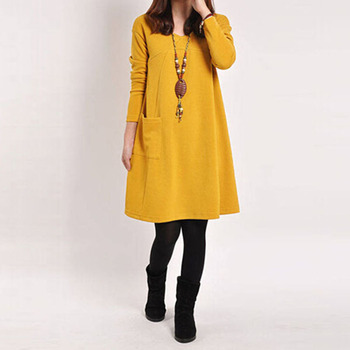 5 цвет Vestidos 2015 осень зима женщины с длинным рукавом карманный платье дамы свободного покроя широкий в вырезом платья Большой размер горячая распродажа