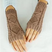 2015 Gift Half Finger/Fingerless Gloves Winter Warm Cable Knit Unisex -Khaki(China (Mainland))