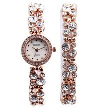 Time100 часы женщины кварцевые часы с бриллиантами золото серебро бесплатнный браслет дамы ювелирные часы подарок (China (Mainland))