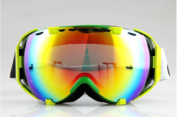 GREEN FRAME COLOURED DOUBLE LENS ADULT MOTOCROSS SNOW SNOWBOARD SKI GOGGLES(China (Mainland))
