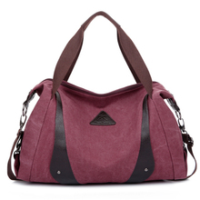 Casual canvas women big shoulder handbags
