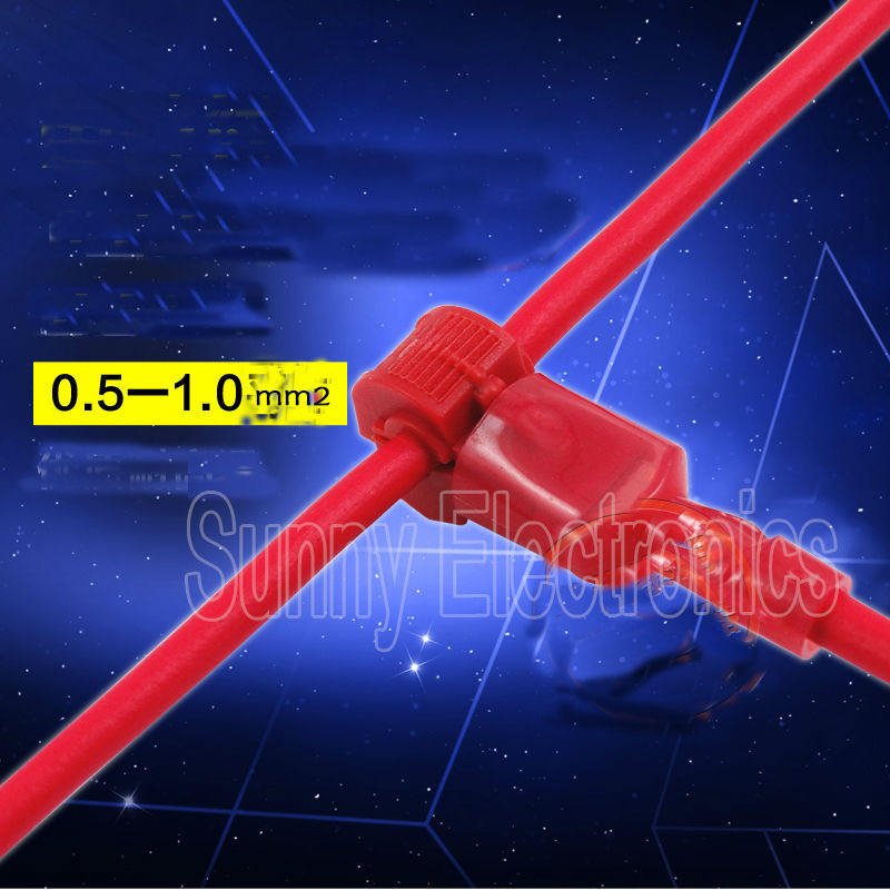 freeship100x RED 22-18 AWG T-TAPS & MALE WIRE CONNECTORS SPLICE ELECTRICAL WIRING Insulated Wire Terminal(China (Mainland))
