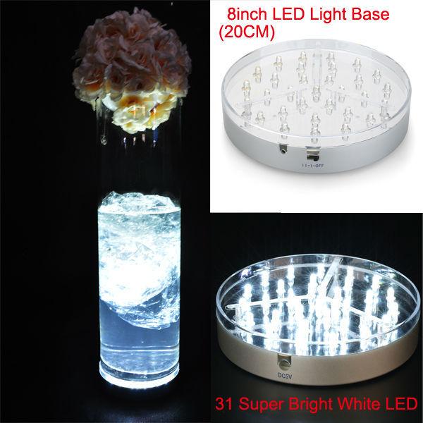 Free Shipping!!! 40pcs 8inch Centerpiece Light Base 31pcs White LED Light Under Vase Light Base(China (Mainland))