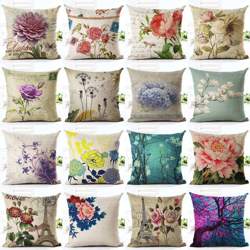 Vintage Flowers Cotton Linen Cushion Cover Decorative Pillowcase Chair Seat and Waist Square 45x45cm Pillow Cover Home Living(China (Mainland))