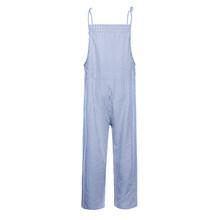 Monos informales a rayas de algodón de lino mamelucos de verano de Otoño de mujer mono recto suelto mujer Streetwear H30(China)