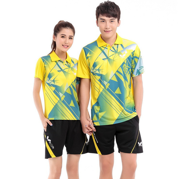 2015 fashion men and women badminton shirt Butterfly table tennis sportswear quick-drying breathable M-4XL short sleeve clothes(China (Mainland))