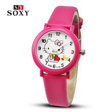 New arrived cartoon quartz watch hello kitty fashion wristwatch for kid children cute elegant relogio feminino masculino clock(China (Mainland))