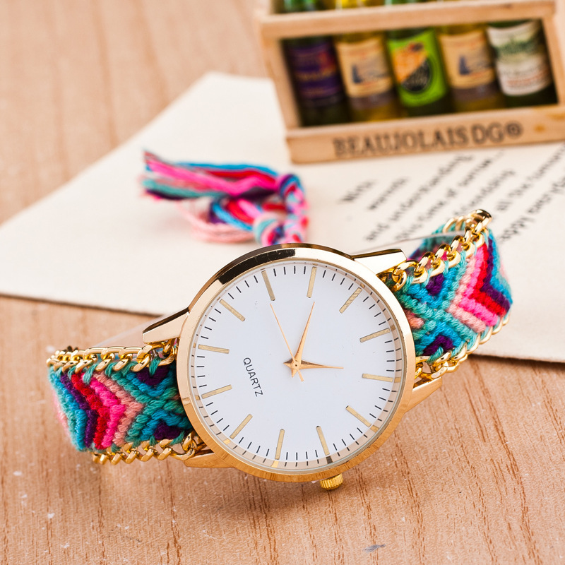 2015 hot new brand handmade braided bracelet watch colorful fashion ladies watches(China (Mainland))