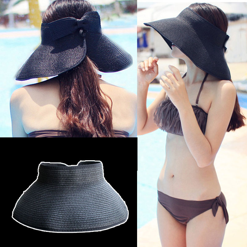 17 Colors Beach Cap Summer Hats Fashion Bowknot Sun Visor Women Large Brimmed Hat Ladies Straw Hats Folding parent-child hat(China (Mainland))