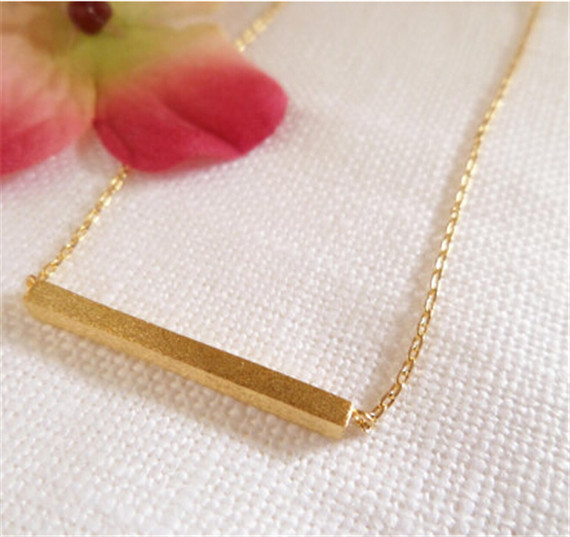1PCS-2015 Gold/Silver Minimalist Bar Necklace, Stainless Steel Simple Minimal  Rectangle Necklace For Women Men Jewery(China (Mainland))