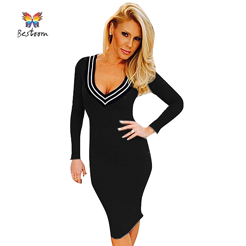 Fall Fashion 2015 Autumn Winter Knitted Women Dress Long Sleeve Sexy Club Party Stretch Bodycon Casual Office Dress Black White(China (Mainland))
