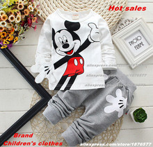 Hot Sale 2016 Brand kids Sport Suits baby boy clothing set girls clothing children's clothing Cotton Long Sleeve Shirt+Pants