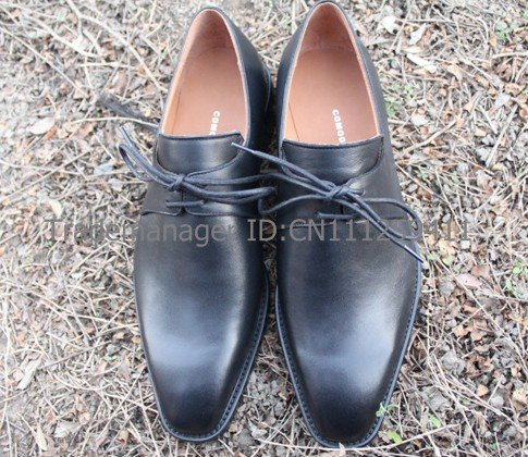 Plain toe handmade pure genuine calf leather mens derby color black shoe No.D28<br><br>Aliexpress