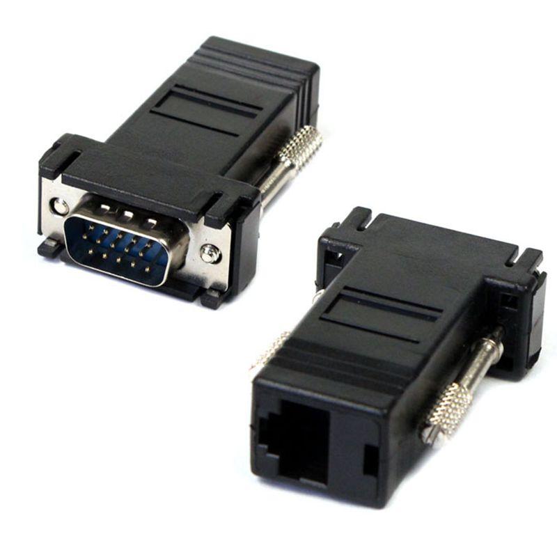 VGA Extender Male To Lan Cat5 Cat5e RJ45 Ethernet Female Adapter Free Shipping(China (Mainland))