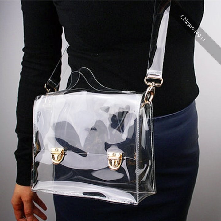 New Fashion PVC Transparent Bag Clear Handbag Tote Shoulder Bag Cross Bag nice(China (Mainland))