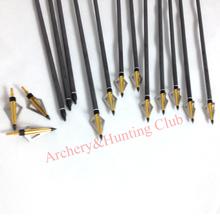 12 sets 17 carbon arrow shaft crossbow archery bow arrow and gold color arrow braodhead arrow