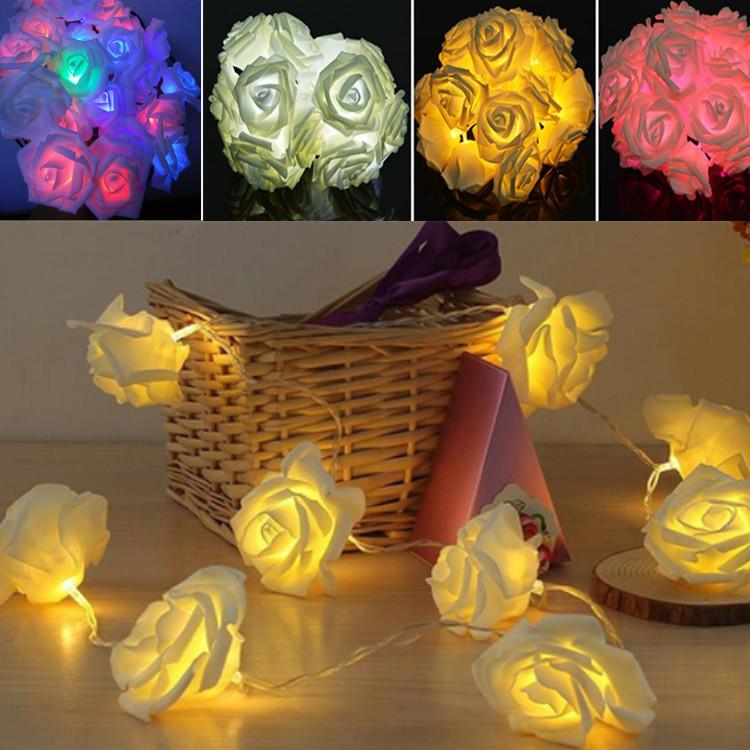2015 NEW Design 2m 20 LED Festival Rose String Light Fairy Lights Christmas Xmas Party Wedding Decoration Lamp bulb Waterproof(China (Mainland))