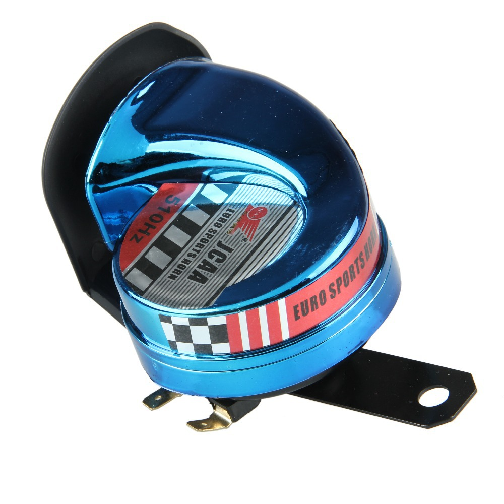 High Quality Modified DC12V Motorcycle Snail Horn Tone 510Hz Motorbike Electric Loud Voice Speaker Chromed Plastic Blue(China (Mainland))