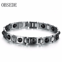 Buy OBSEDE Vintage Titanium Stainless Steel Bracelet Fashion Black Beads Magnetic Chain Charm Bracelets Men Punk Jewelry Gift for $3.50 in AliExpress store