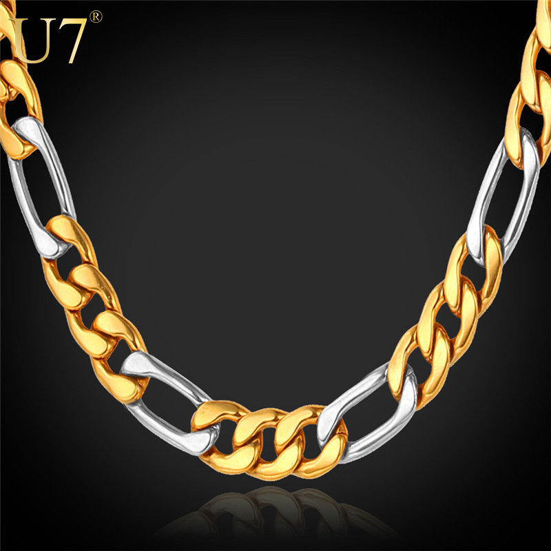 Two Tone Gold Chain For Men Jewelry 18K Gold Plated 8MM Wide 316L Stainless Steel Figaro Chain Necklace Men Party Punk Rock N405(China (Mainland))