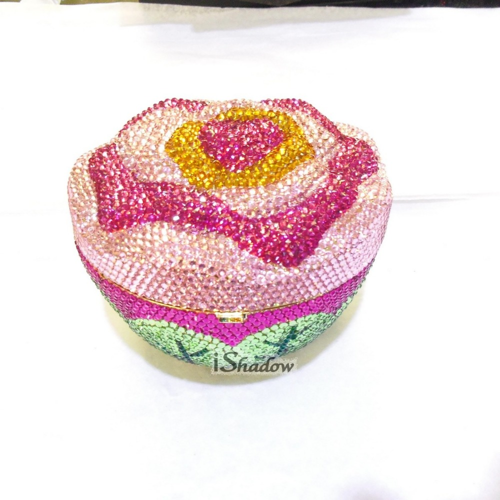 Crystal 3D-ROSE colorA Flower Floral Wedding Bridal Party Night hollow Metal Evening purse clutch bag handbag case box