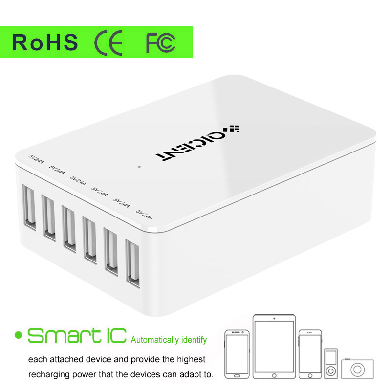6port carregador usb charger portable mobile battery universal phone charger Intelligent quick charge 5V 50W 10A dock station(China (Mainland))