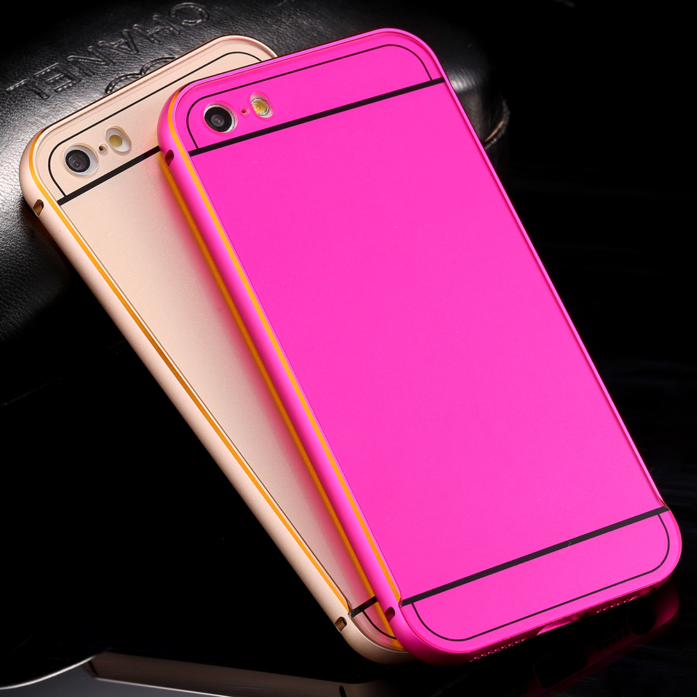 5 5s se Ultra Thin Double Color Aluminum Frame Back Cover apple iphone Case Hybrid Phone Bags Coque Funda LOGO  -  GRASS Technology Co.,Ltd store