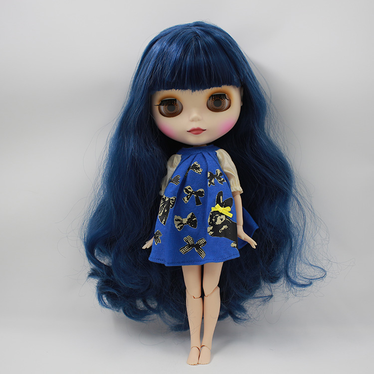 Takar Blyth dark blue cloth doll bangs long hair frosted surface shell joint modified her naked baby<br><br>Aliexpress