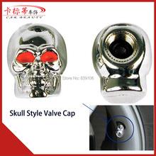Luxury Car Van Truck Bike Motorcycle Chrome Skull Tire Tyre Valve Caps Dust Covers Stem JP Wheel Decoration(China (Mainland))