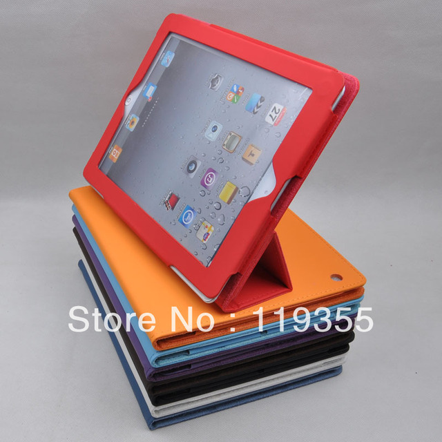 Free Shipping For The new ipad4 ipad3 ipad 2 3 4 PU leather cover case solid case protective compatible stand cover case