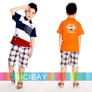 Kids Outfit Boys Summer Suits Beach Suits Boys Summer Striped Outfits Striped Tshirts + Beach Pants,Free Shipping