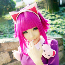 Annie LOL Dark Pink Short Cosplay Party Wig Free Shipping(China (Mainland))
