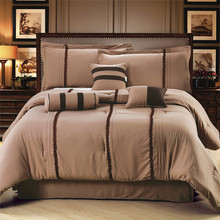 NEW Fashion Luxury Polyester Solid Coffee Brown Queen/King Size 7 Piece Bedding Comforter Set Bedshirt Cushion Breakfast Pillow(China (Mainland))