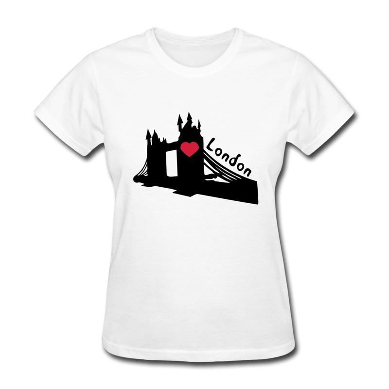 Top brand cotton women tee shirt heart london tower bridge for Logo t shirt maker