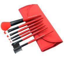 Red Color Brand New Fashion Professional 7 pcs Makeup Brush Set tools HOT Make-up Toiletry Kit Wool Make Up Brush Set Case