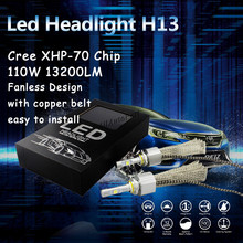 Buy Fanless H13 Ultra Bright LED Headlight Conversion Kit 55W 6600LM 6000K Xenon White Bulbs 9012 H7 H11 9005 9006 H9 H10 9007 9004 for $74.99 in AliExpress store